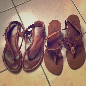 2 pairs Tory Burch sandal.
